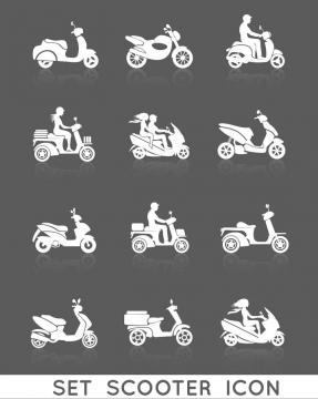 12款白色电动车和骑电动车的男孩女孩剪影免抠矢量图片素材