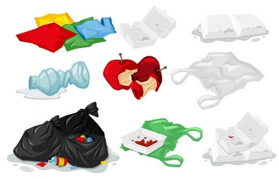 各种白色垃圾塑料垃圾图片免抠素材