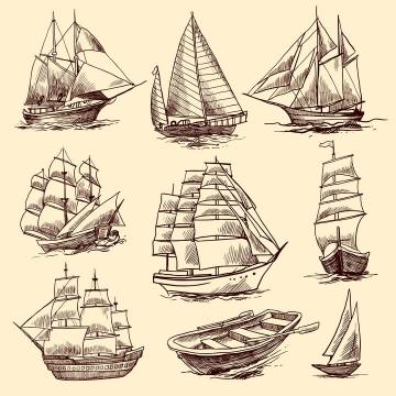 9款复古手绘线条插画插图风格帆船小木船免抠矢量图片素材
