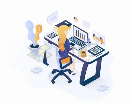 2.5D风格坐在电脑前看数据的商务女士png图片免抠矢量素材
