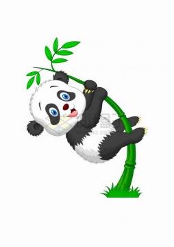 抱住竹子的卡通熊猫png图片免抠矢量素材