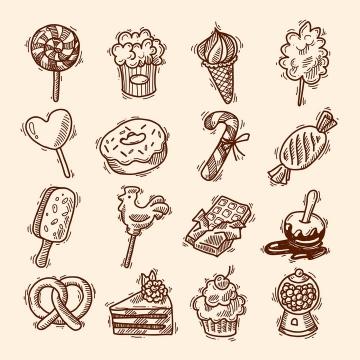 16款复古手绘线条插画插图风格零食糖果冰淇淋蛋糕等美食免抠矢量图片素材