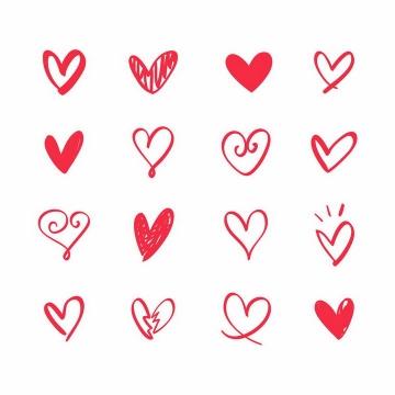 16款红色线条手绘涂鸦风格心形符号红心情人节破裂的爱心png图片免抠eps矢量素材