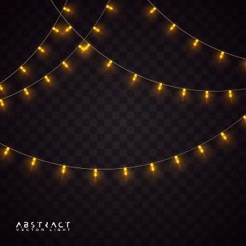 黄色彩色灯带彩灯装饰图片素材