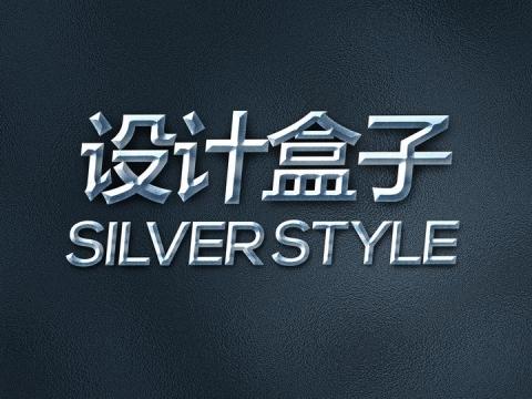 银色光泽3D立体字体文字样机图片设计模板素材