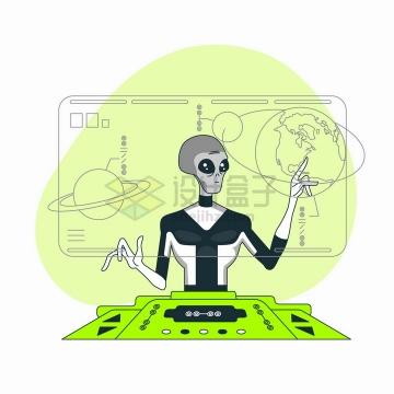外星人正在屏幕上研究地球扁平插画png图片免抠矢量素材