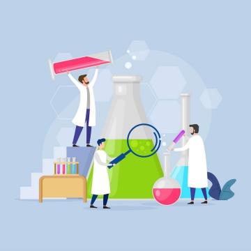 扁平化风格正在做化学实验的科学家免扣图片素材