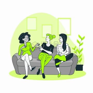 三个女孩坐在沙发上聊天扁平插画png图片免抠矢量素材