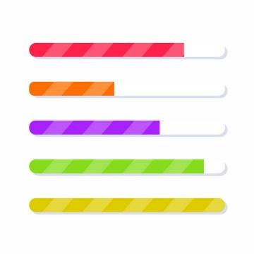5款扁平化条纹糖果色加载进度条loading画面设计png图片免抠eps矢量素材