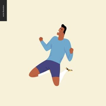 卡通插画风格跳跃的足球运动员免扣图片素材