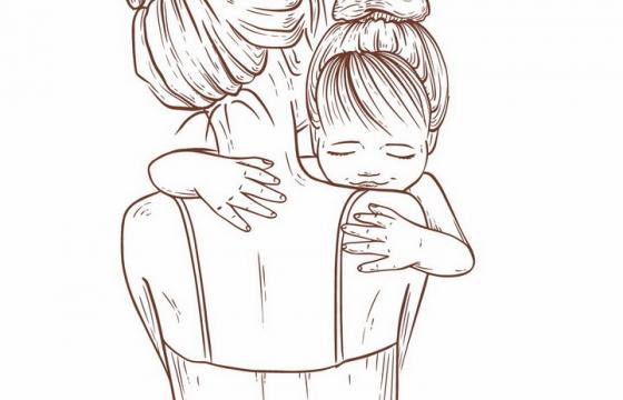 手绘线条风格抱着女儿的年轻妈妈母亲节png图片免抠eps矢量素材