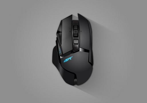 一款人体工学的无线蓝牙游戏鼠标俯视图图片免抠矢量图素材