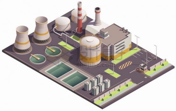 2.5D风格污水处理厂发电厂厂房建筑png图片素材