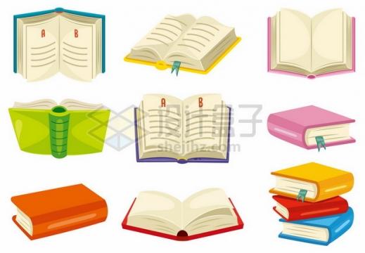 9款翻开的卡通书本书籍459600png矢量图片素材