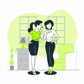 两个正在说悄悄话的女人扁平插画png图片免抠矢量素材