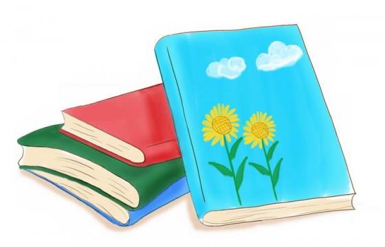 彩色手绘风格的书本图片免抠素材