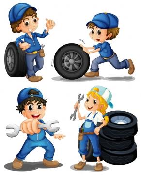 4款正在更换汽车轮胎的卡通汽修工人png图片免抠矢量素材