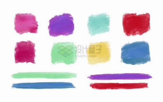 各种彩色水彩画笔触方框和线条png图片素材