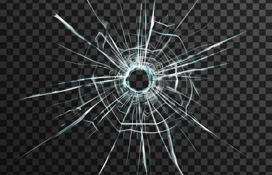 子弹弹孔玻璃裂纹碎片效果图片免抠素材