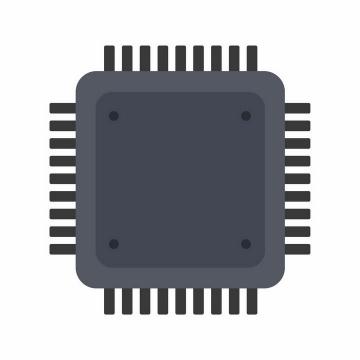 扁平化风格深灰色集成电路CPU处理器图案png图片免抠ai矢量素材