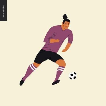 卡通风格正在踢足球的球员免扣图片素材