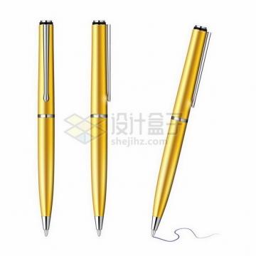 3款金色签字笔金笔png图片免抠矢量素材