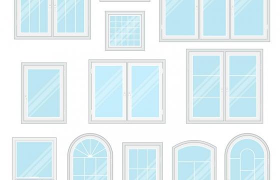 各种形状和风格的淡蓝色玻璃窗图片免抠矢量素材