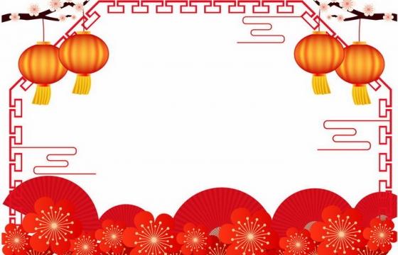 大红灯笼梅花装饰传统祥云图案新年年会晚会背景图片免抠AI矢量素材