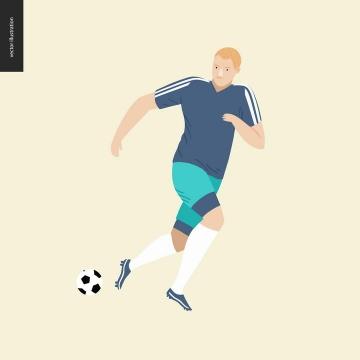 卡通风格正在踢足球的运动员免扣图片素材