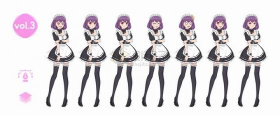 不同表情的大长腿女仆装动漫日式漫画卡通美少女png图片免抠矢量素材