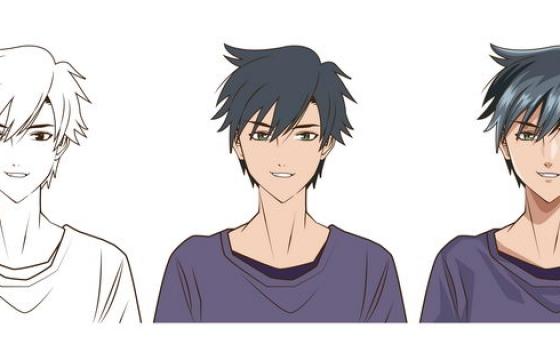 二次元日式漫画男孩线条手绘和上色作品png图片免抠矢量素材