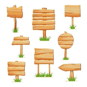 8款卡通漫画风格木板木制标牌指示牌指路牌图片免抠矢量素材