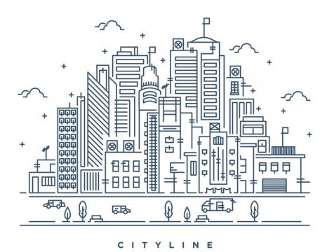 断点风格线条城市建筑天际线图片免抠矢量图素材