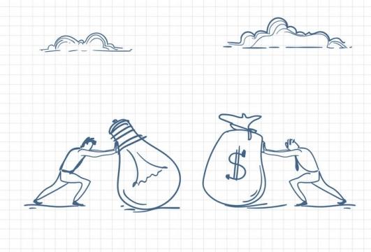 圆珠笔画涂鸦风格正在推着象征点子和金钱的电灯泡和钱袋子职场人际交往配图图片免抠矢量素材