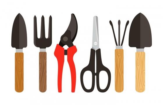 6款铲子园艺剪刀等园艺工具图片免抠矢量素材