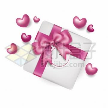 白色的礼物盒和玫红色的蝴蝶结包装带205590png图片素材