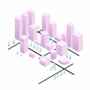 粉色方块组成的3D城市建筑模型png图片免抠ai矢量素材