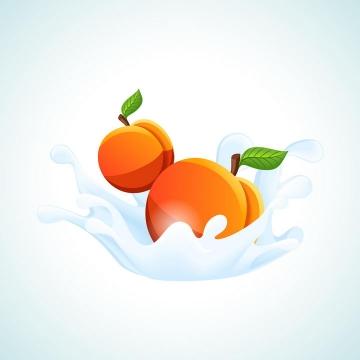 卡通风格桃子掉入牛奶中免抠矢量图片素材