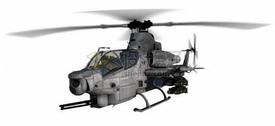 飞行中的美军AH-1Z武装直升机png图片免抠素材