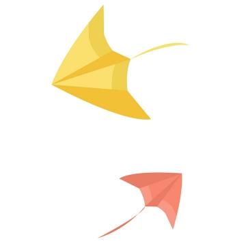 两个扁平化的风筝图片免抠素材