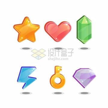 水晶风格五角星红心宝石闪电钥匙钻石立体图案png图片素材