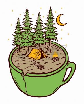 抽象茶杯上的森林帐篷和篝火手绘插画png图片免抠矢量素材