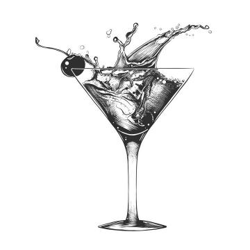 铅笔素描手绘风格一杯鸡尾酒免扣图片素材