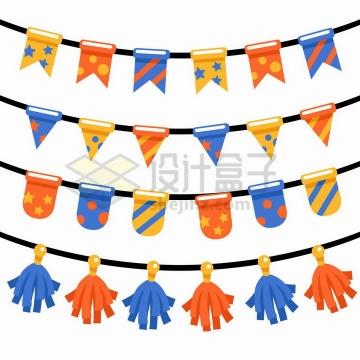 4款卡通彩色生日宴会挂饰彩带装饰png图片免抠矢量素材
