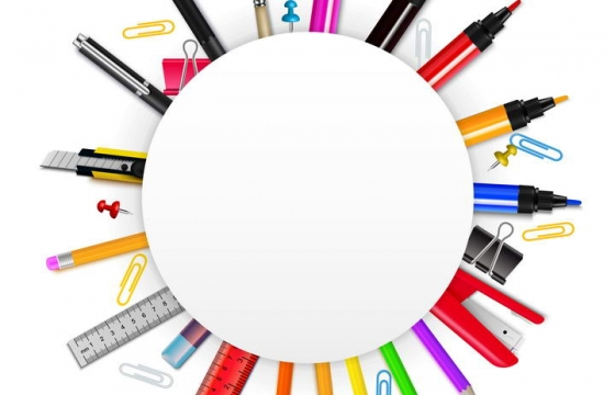 各种美工刀画笔直尺等设计师做图用品环绕的圆形标题框文本框图片免抠素材