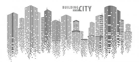 小方块点线组成的城市高楼大厦天际线图片免抠矢量图素材