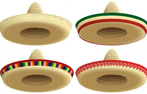 四款墨西哥草帽图片免抠矢量素材