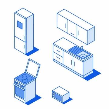 2.5D蓝色线条风格电冰箱洗菜池煤气灶集成灶微波炉等厨房电器png图片免抠矢量素材
