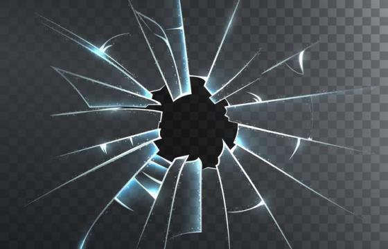 半透明蓝玻璃破碎效果图片免抠素材