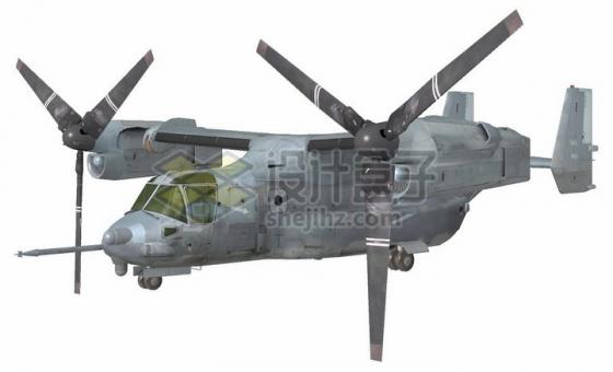 飞行状态的V-22倾转旋翼机鱼鹰运输直升机png图片免抠素材